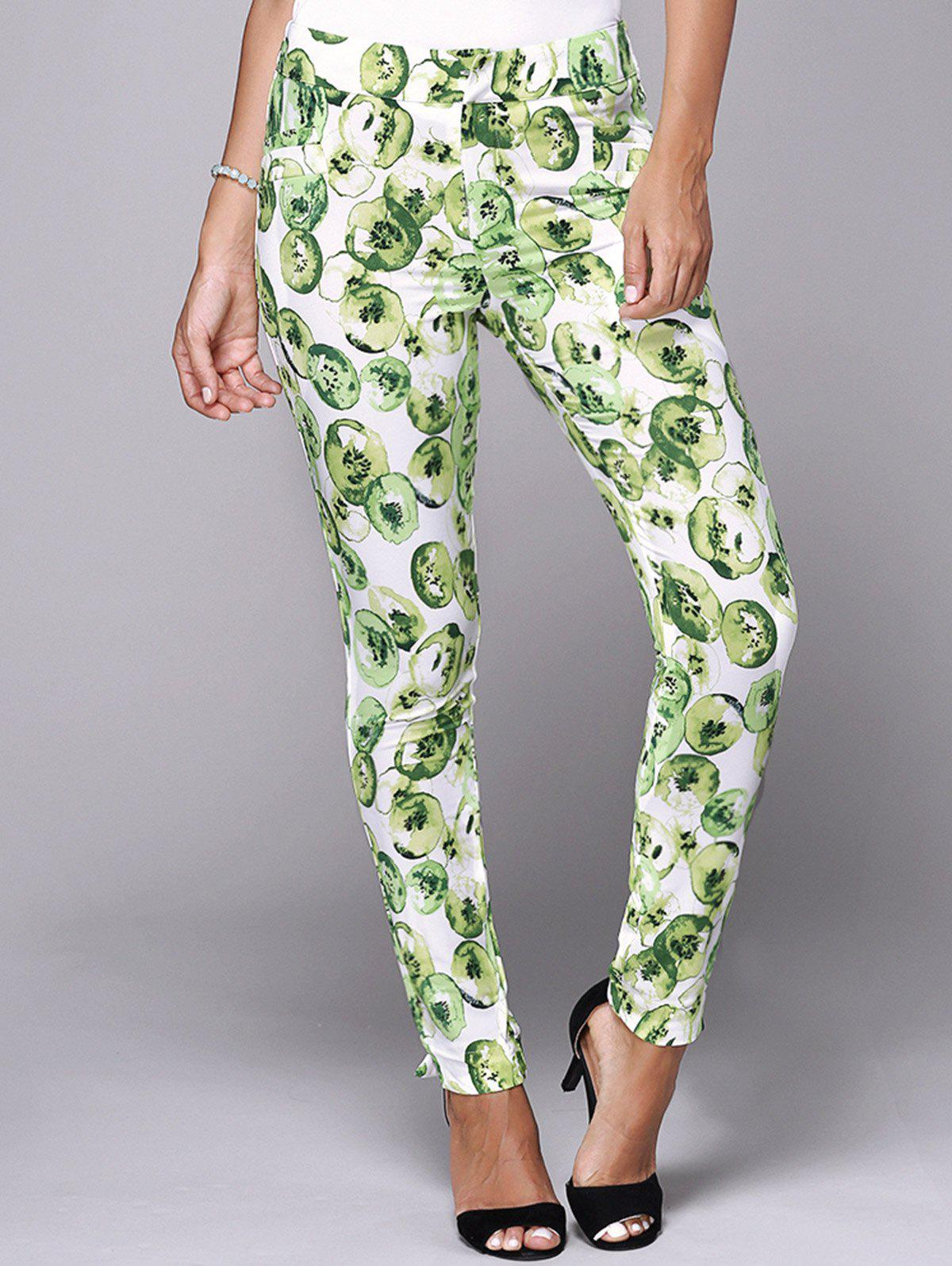 Chic Elastic Waist Print Skinny Pants For Women - LIGHT GREEN L