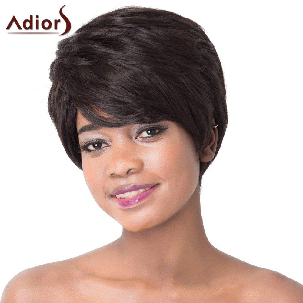 Ultrashort Fluffy Straight Black Synthetic Spiffy Side Bang Capless Adiors Wig For Women купить