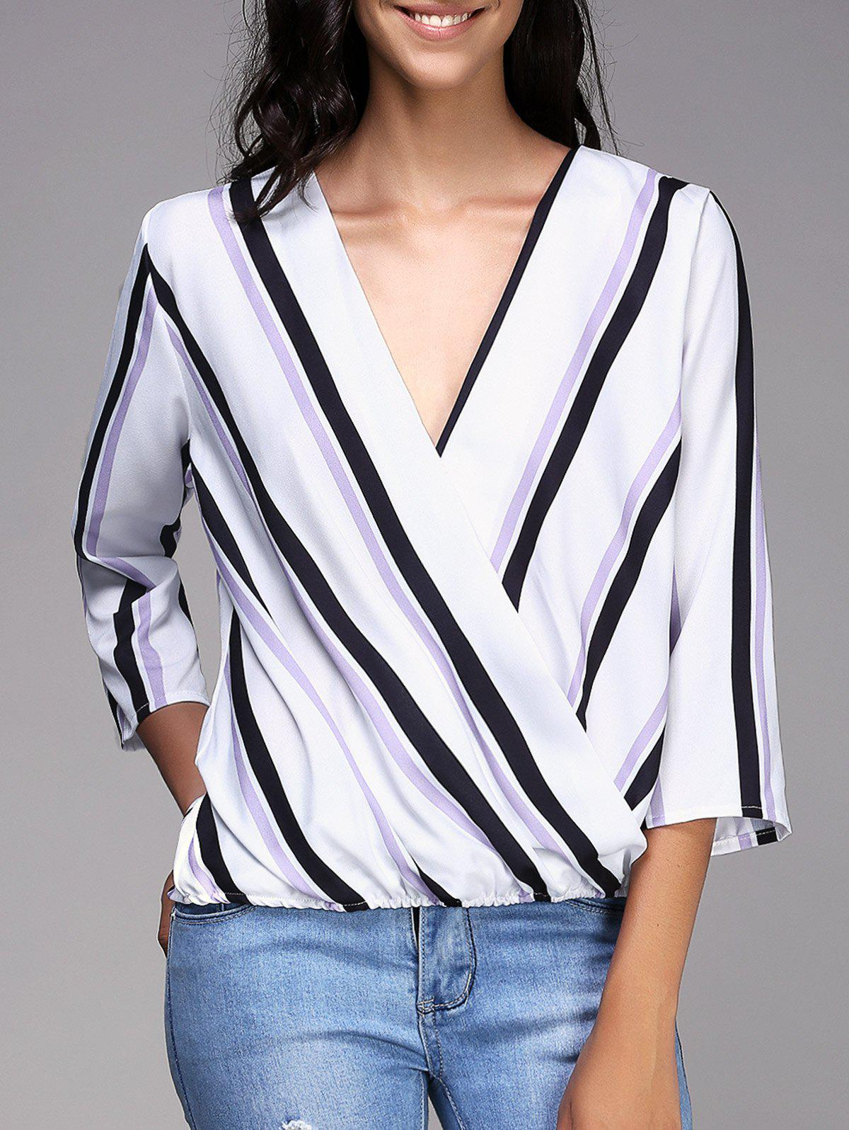 Stylish Plunging 3/4 SleevevStriped Neck Women's Top