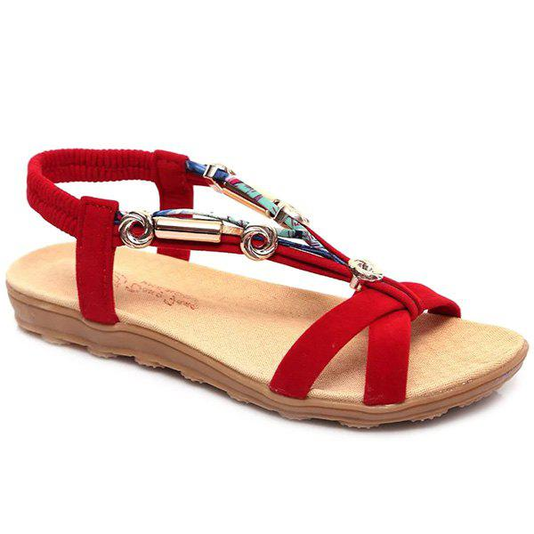 Leisure Colour Block and Metal Design Women's Sandals - RED 39