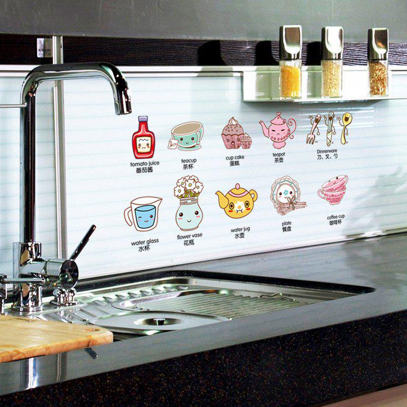 Lovely Cartoon Tablewares Pattern Wall Sticker For Kitchen Cabinet Decoration