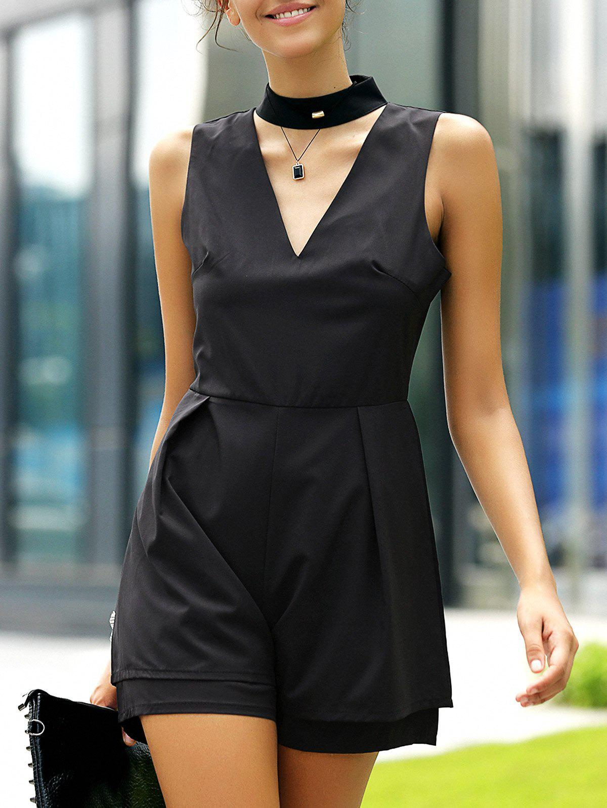 Fashionable Women's Stand Collar Cut Out Solid Color Romper - BLACK XL