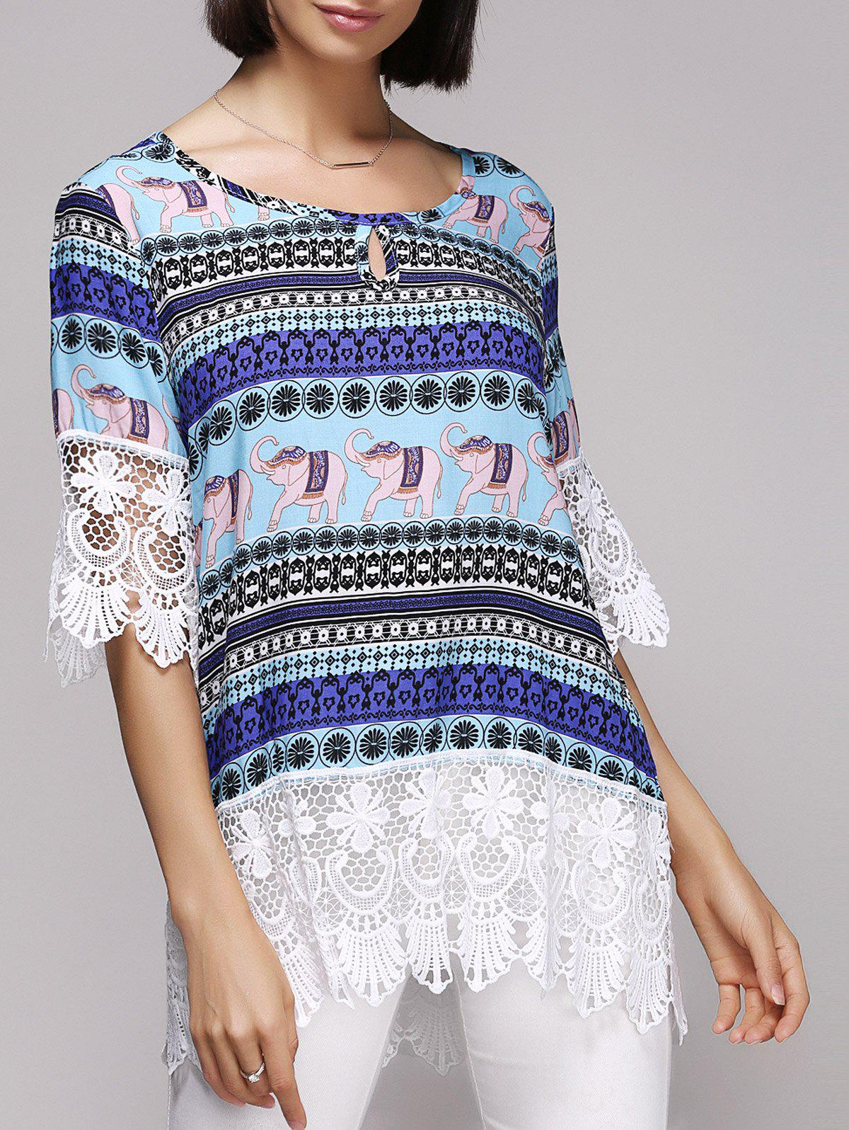 Stylish Spliced 3/4 Sleeve Scoop Neck Tribal Print Women's Blouse - BLUE L