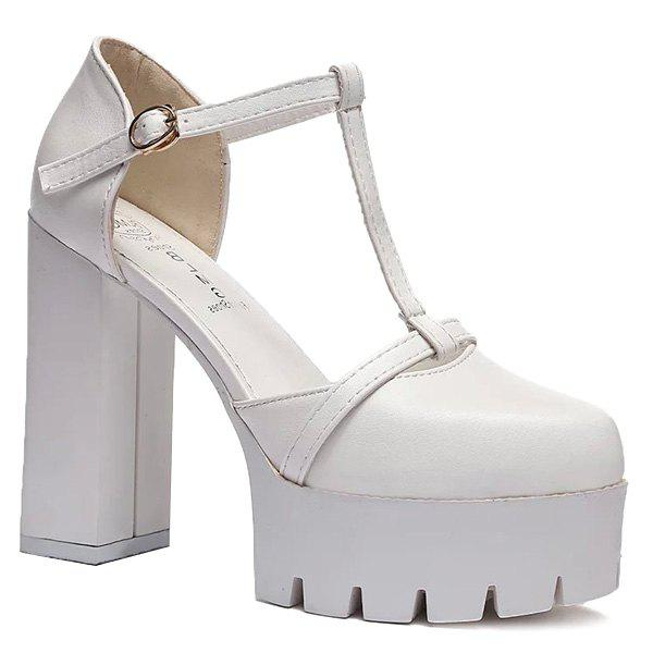 Stylish T-Strap and Chunky Heel Design Women's Pumps - WHITE 39