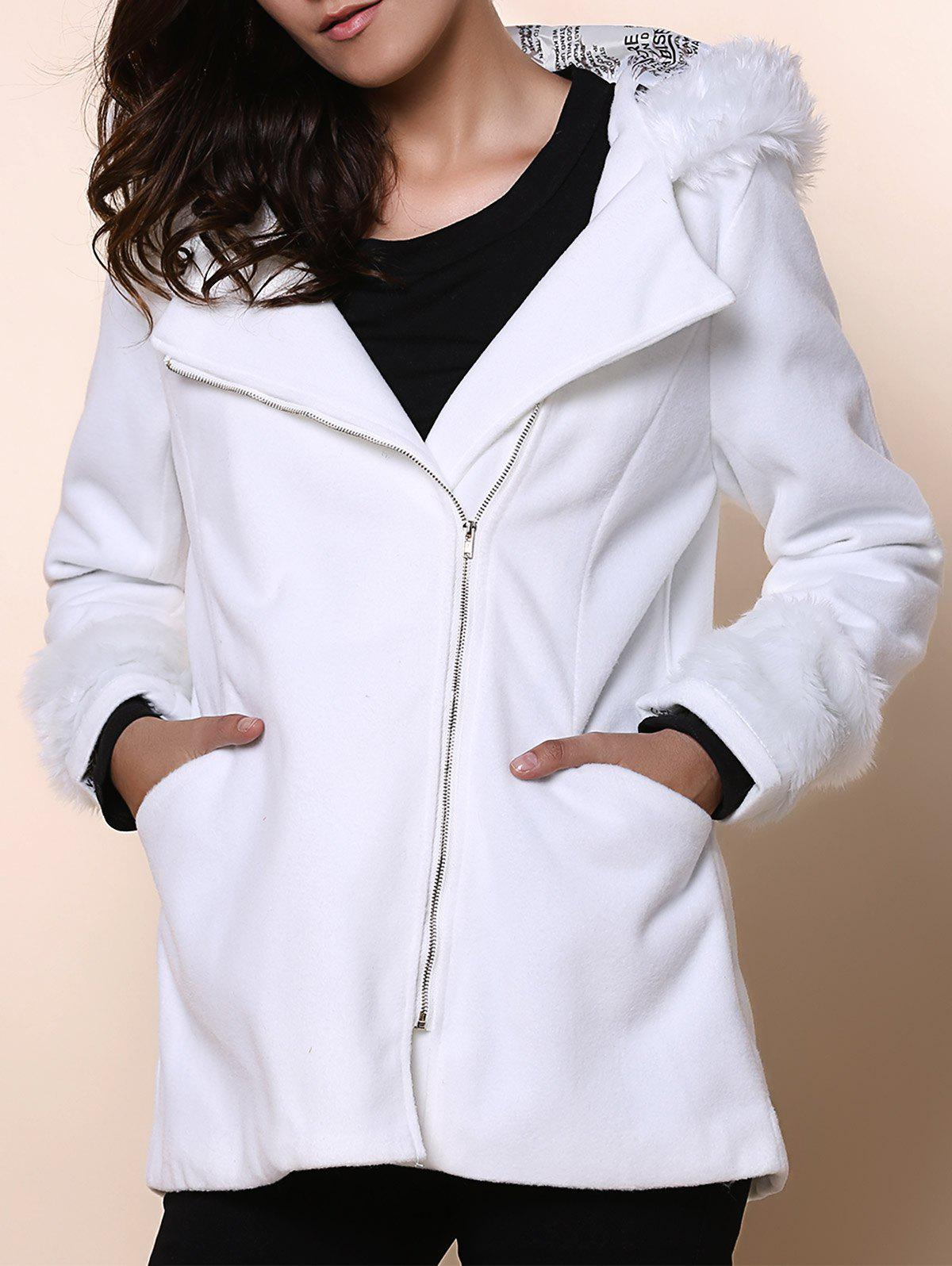 Chic Hooded Long Sleeve Zippered Loose-Fitting Womens CoatWomen<br><br><br>Size: ONE SIZE(FIT SIZE XS TO M)<br>Color: WHITE