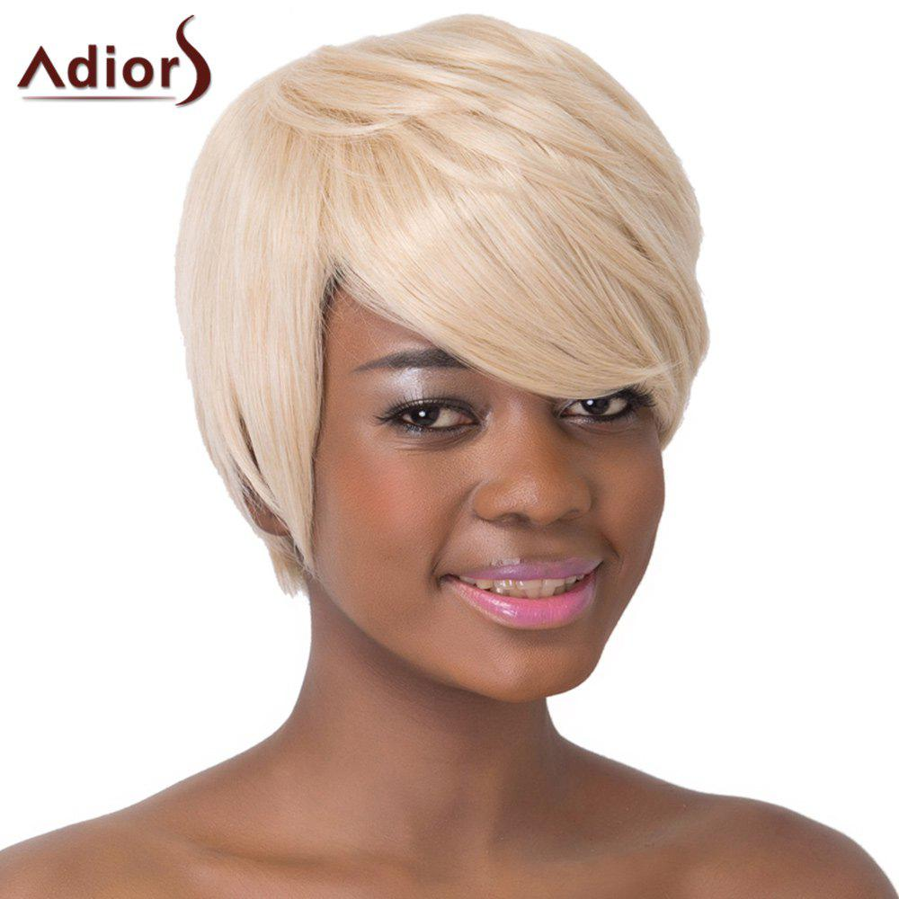 Refreshing Rice White Side Bang Short Straight Capless Synthetic Adiors Wig For Women