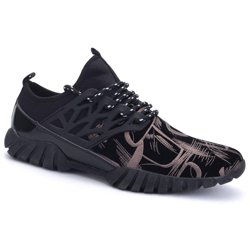 Leisure Lace-Up and Print Design Men's Athletic Shoes - BLACK 42