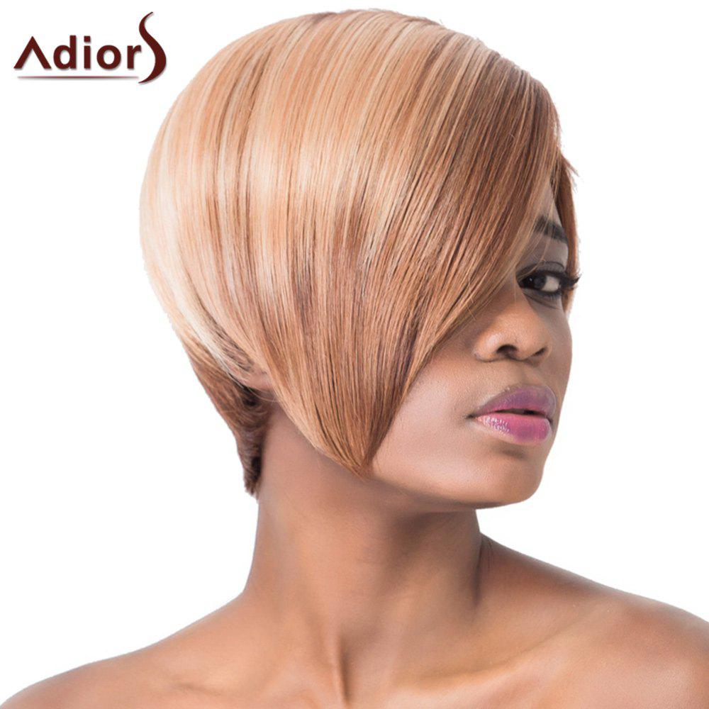 Faddish Oblique Bang Short Straight Capless Synthetic Adiors Wig For Women