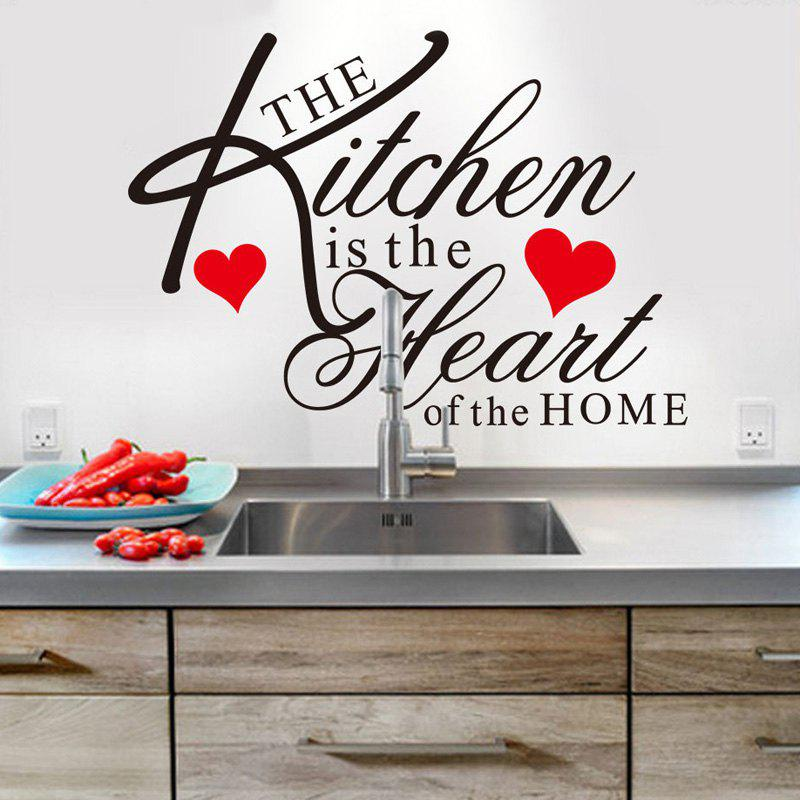 Stylish English Quotes Pattern Wall Sticker For Restaurant Kitchen Decoration - BLACK