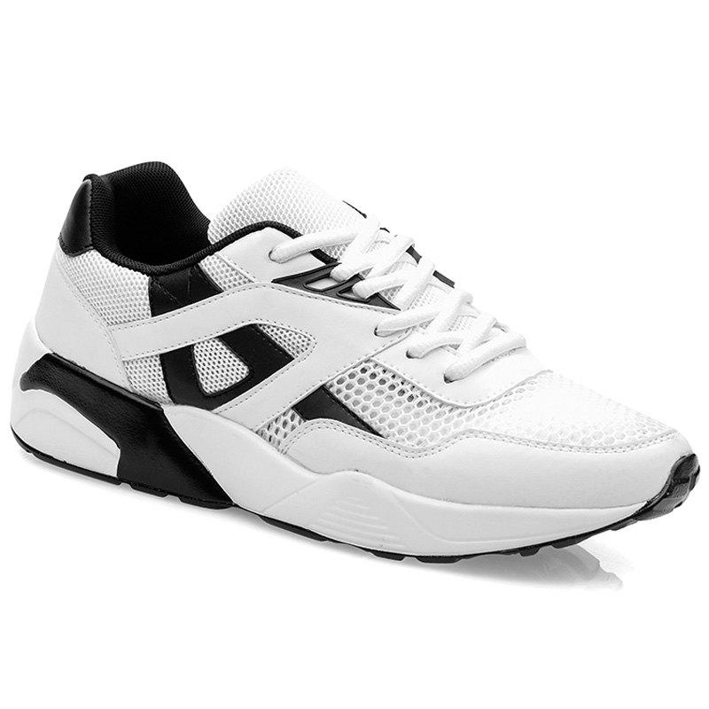 Stylish Mesh and Colour Block Design Men's Athletic Shoes - WHITE 44