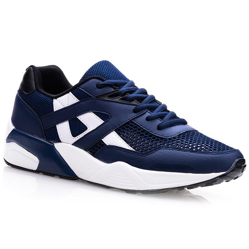 Stylish Mesh and Colour Block Design Men's Athletic Shoes - BLUE 43