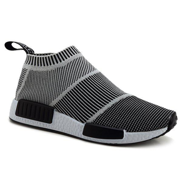 Fashionable Colour Block and Stripes Design Men's Casual Shoes - 43 GRAY