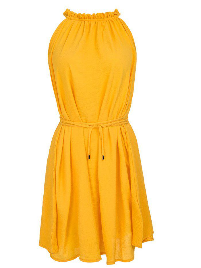 Simple Ruffled Neck Ruched Belted Waist Pure Color Women's Sleeveless Dress - DEEP YELLOW 2XL