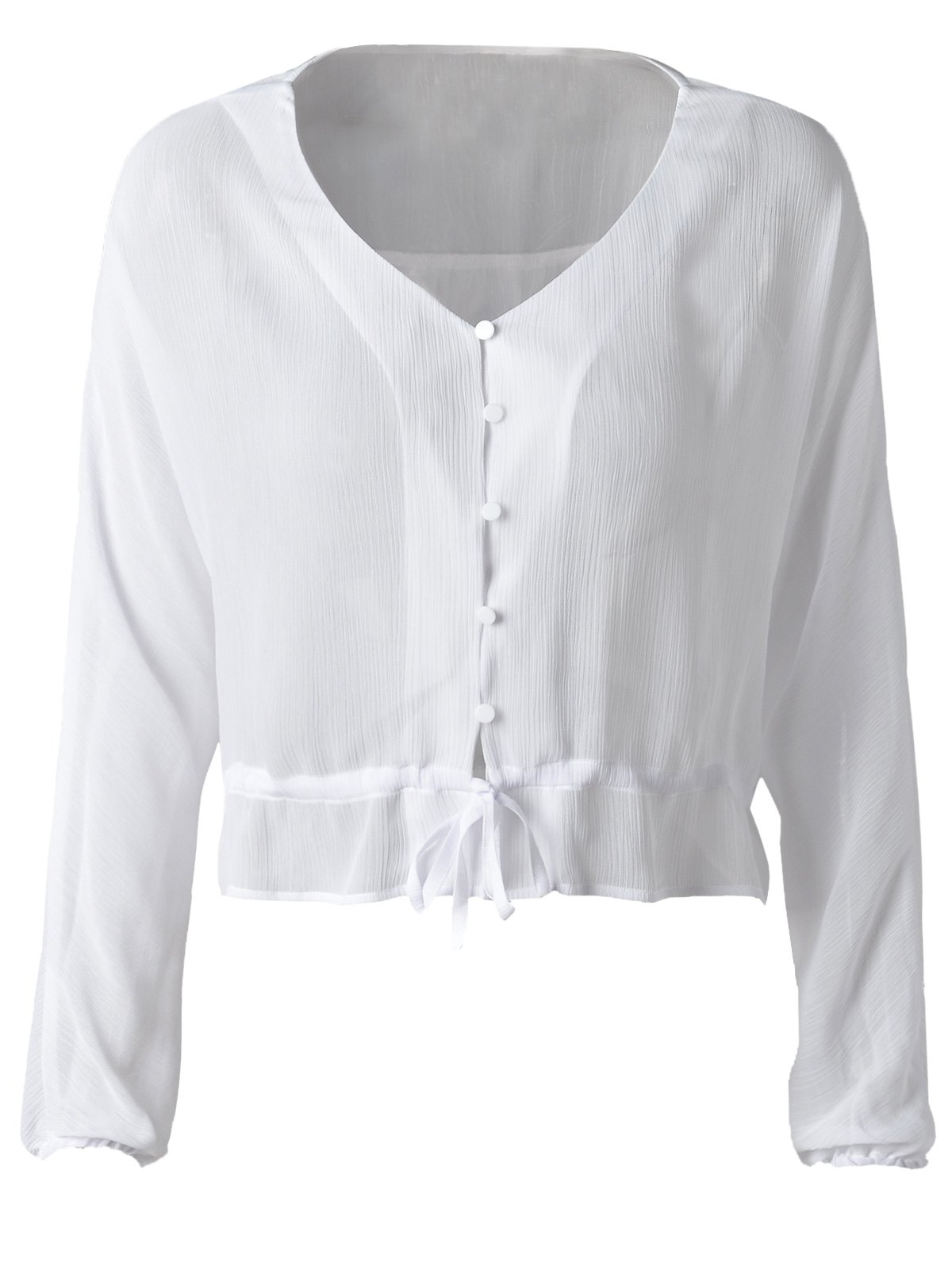 Fashionable Chiffon Falbala Blouse For Women - CRYSTAL CREAM S