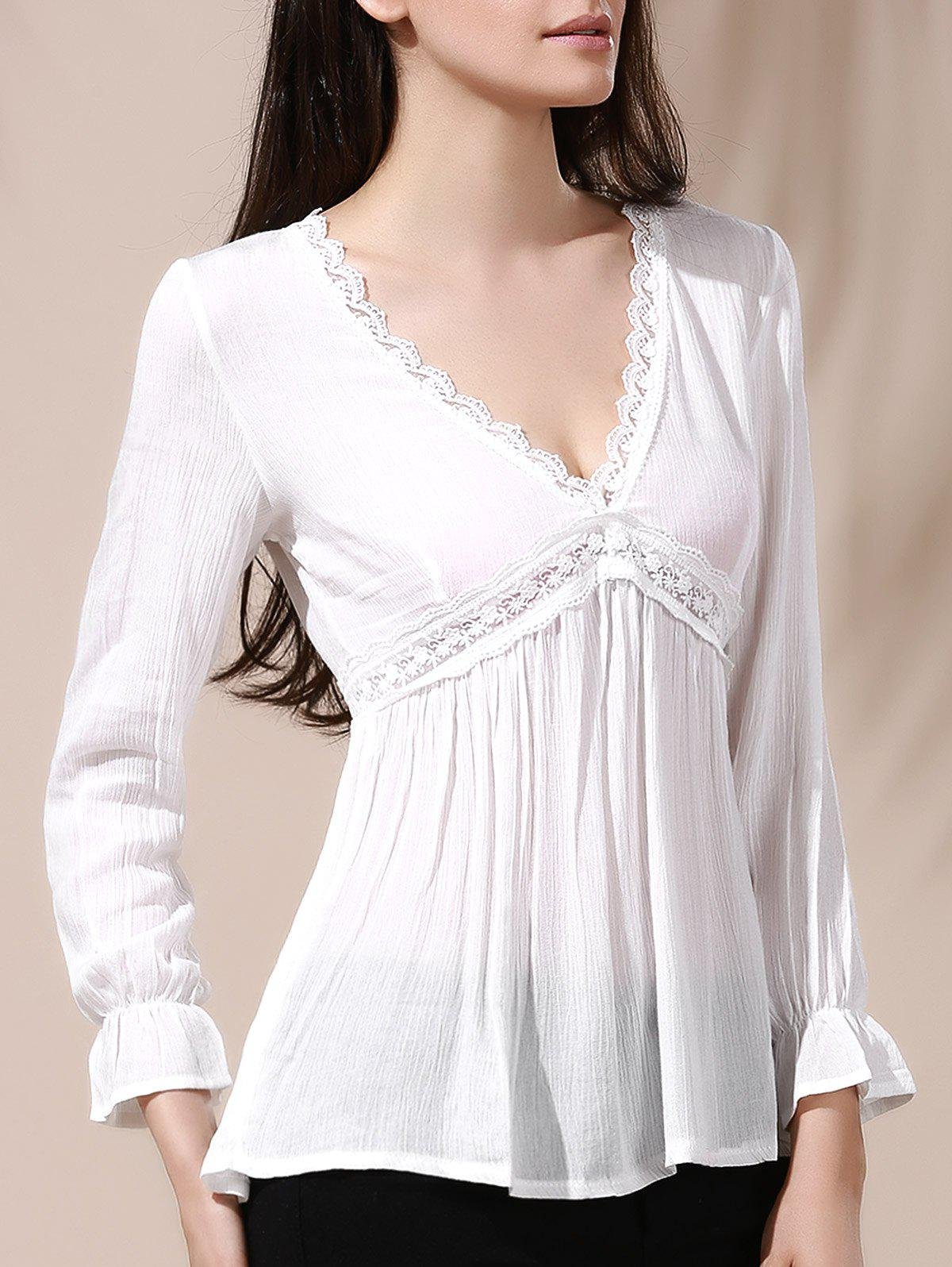 Blouse With Lace Trim For Women - WHITE XL