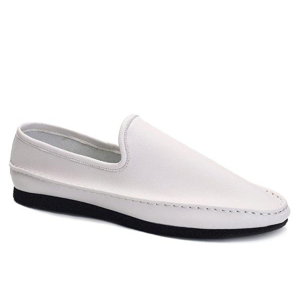 Stylish Solid Colour and PU Leather Design Men's Casual Shoes - WHITE 39