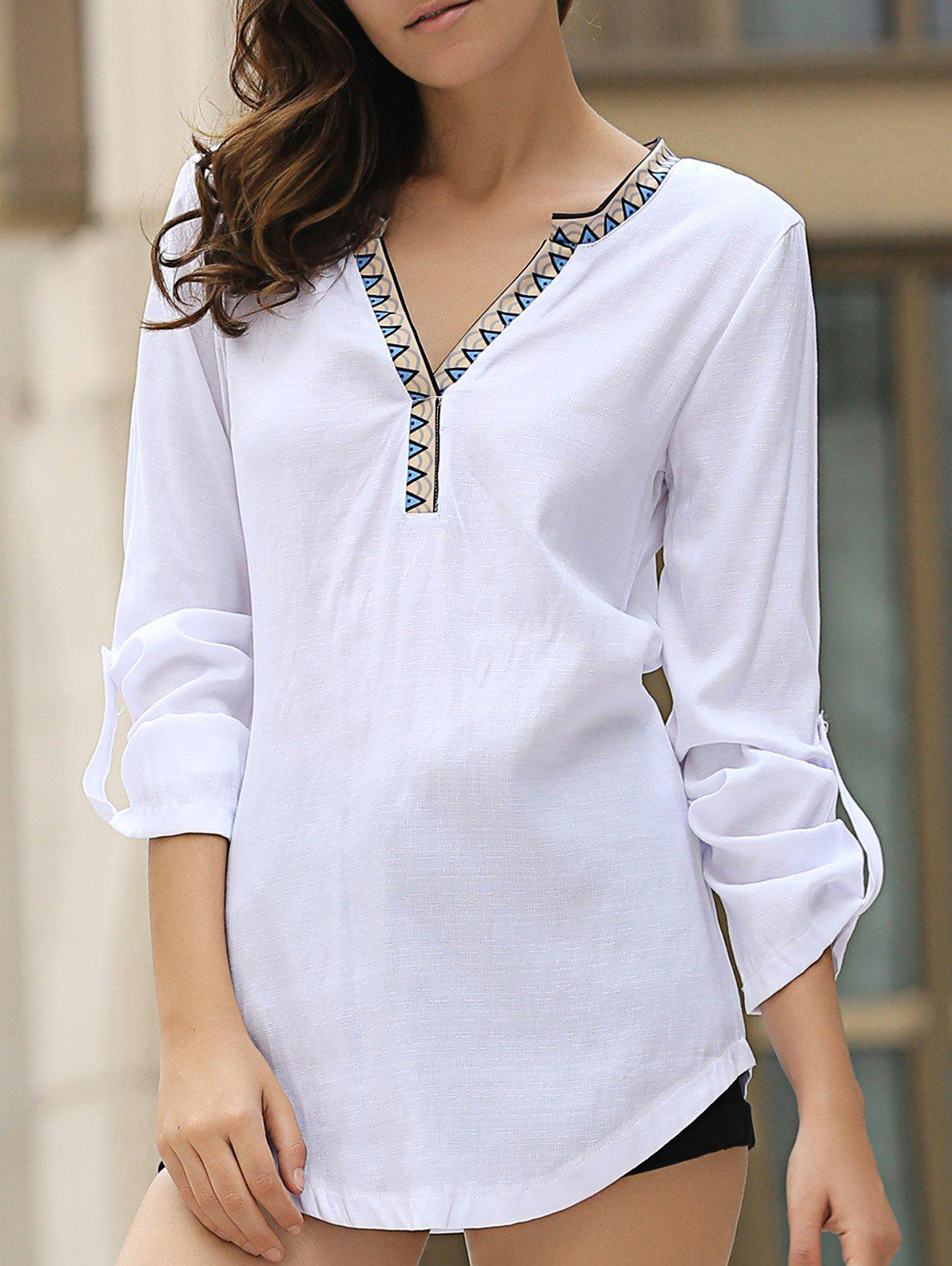 Casual Long Sleeve V Neck Asymmetrical Women's Blouse - WHITE M