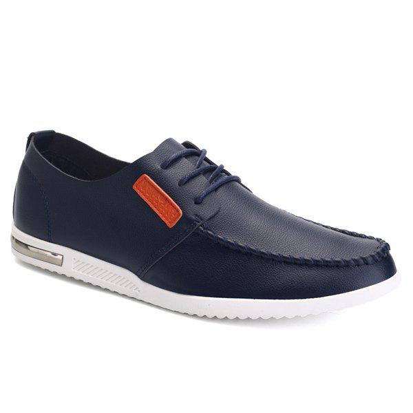 Fashionable Hit Color and Lacing Design Men's Casual Shoes - PURPLISH BLUE 43