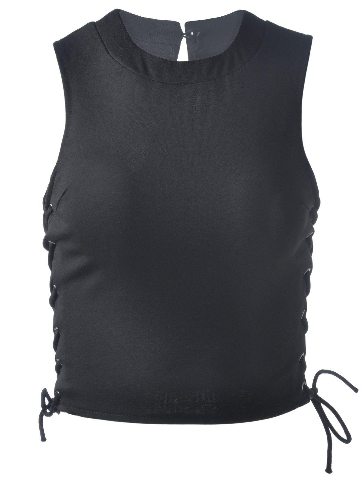 Fashionable Women's Jewel Neck  Sleeveless Crop Top - BLACK ONE SIZE(FIT SIZE XS TO M)