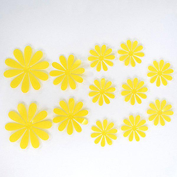 12PCS Cute 3D Floral Shape Plastic Wall Sticker For Kindergarten Children's Bedroom - YELLOW