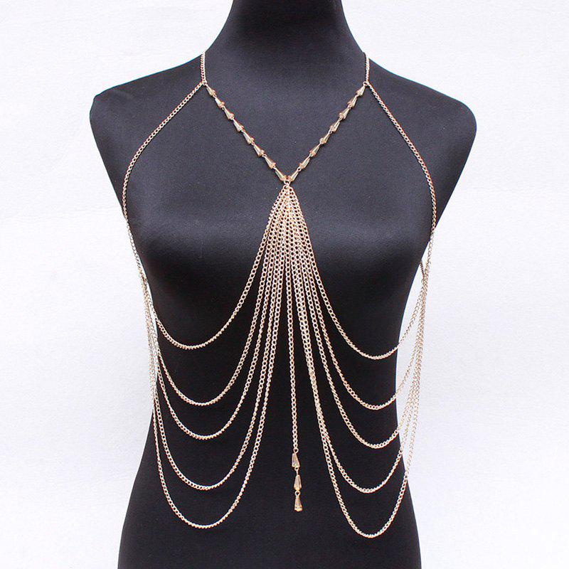 Elegant Faux Crystal Cone Multilayer Chain Body Chain For Women - GOLDEN