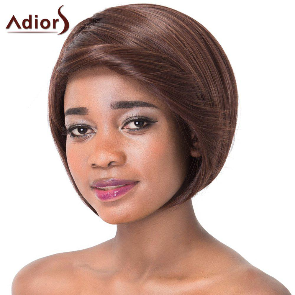Elegant Inclined Bang Short Straight Capless Synthetic Adiors Wig For Women - BLACK BROWN