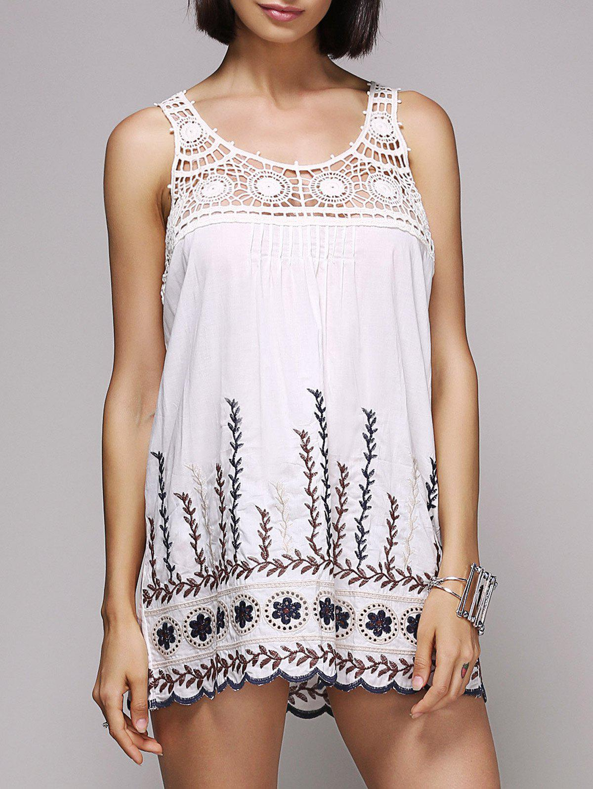 Stylish Women's Scoop Neck Embroidered Hollow Out Tank Top - WHITE ONE SIZE(FIT SIZE XS TO M)