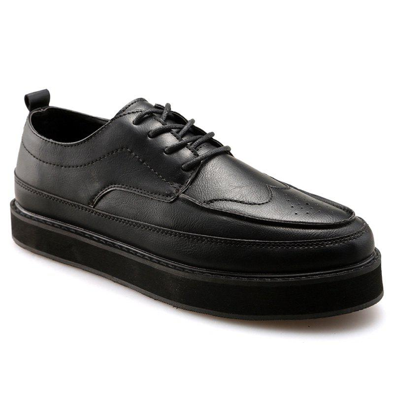 Vintage Engraving and Lace-Up Design Men's Casual Shoes - 44 BLACK