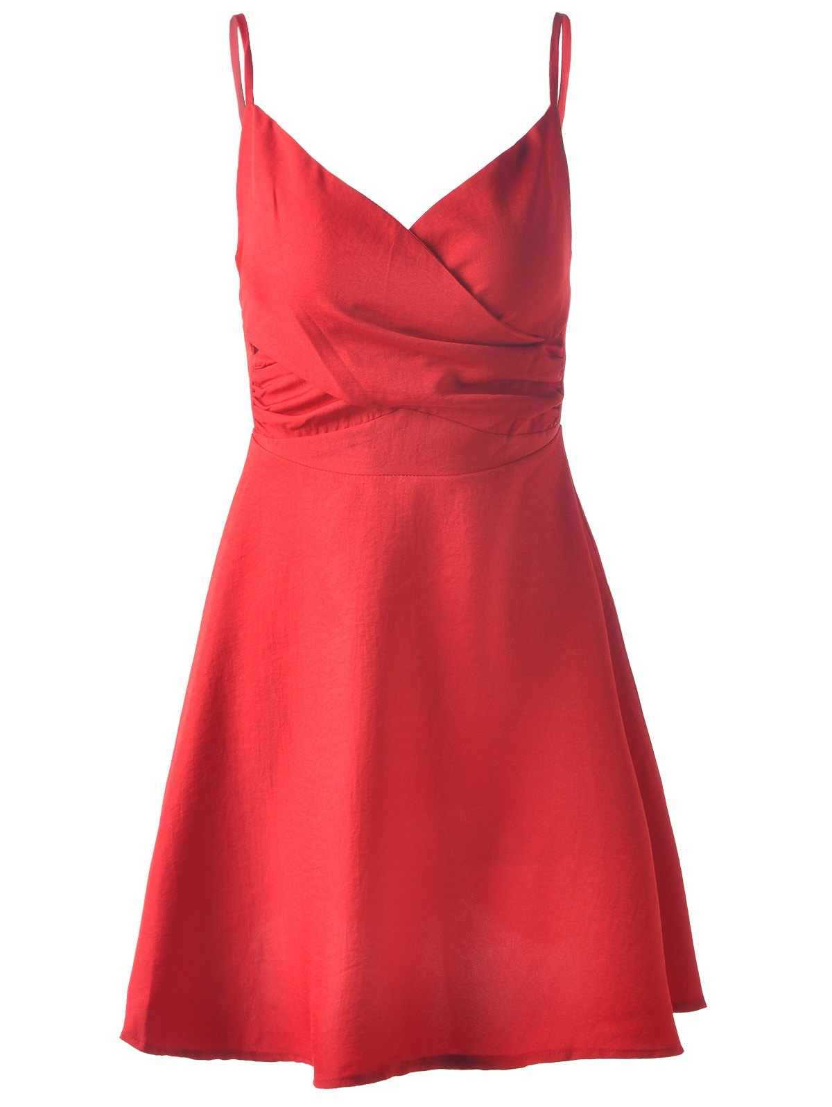 Stylish Women's Overlapping  Spaghetti Strap Sleeveless Knee-Length Dress - DEEP RED M