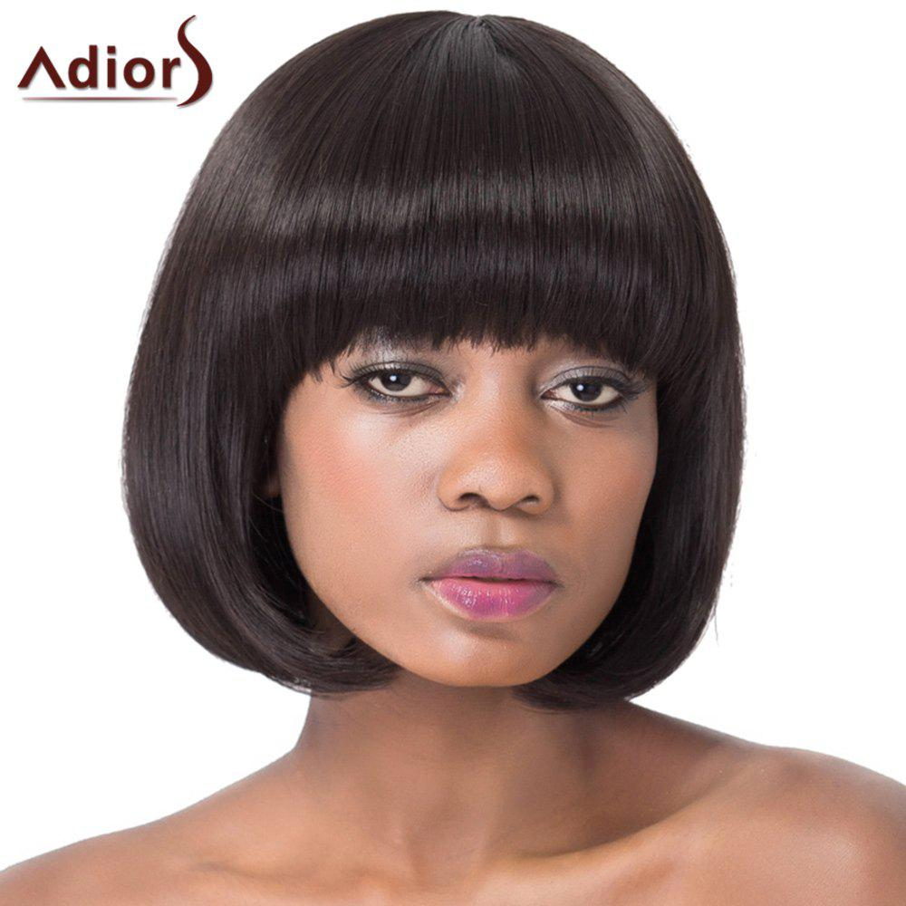Sweet Black Bob Style Short Straight Full Bang Synthetic Adiors Wig For Women - BLACK
