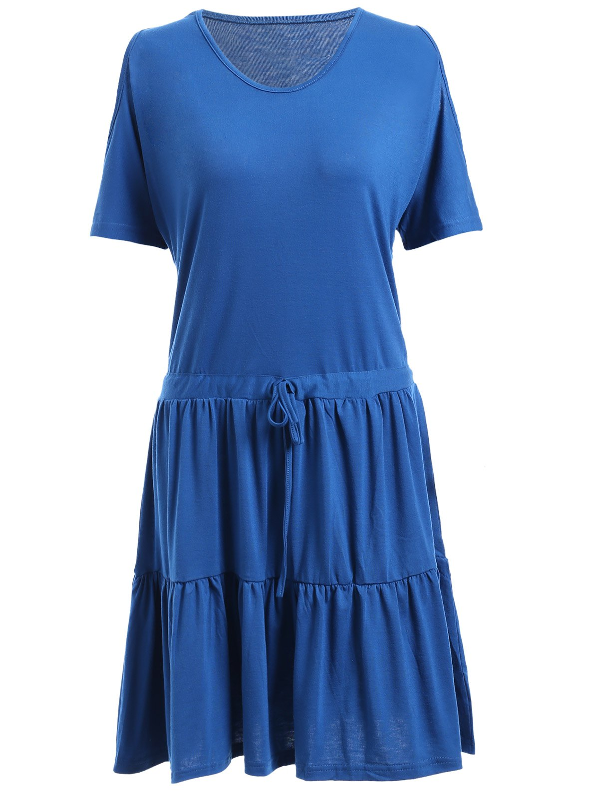 Casual Women's Scoop Neck Cold Shoulder Ruffled Dress - BLUE ONE SIZE(FIT SIZE XS TO M)
