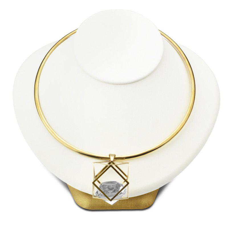 Simple Geometric Hollow Out Artificial Crystal Torques For Women