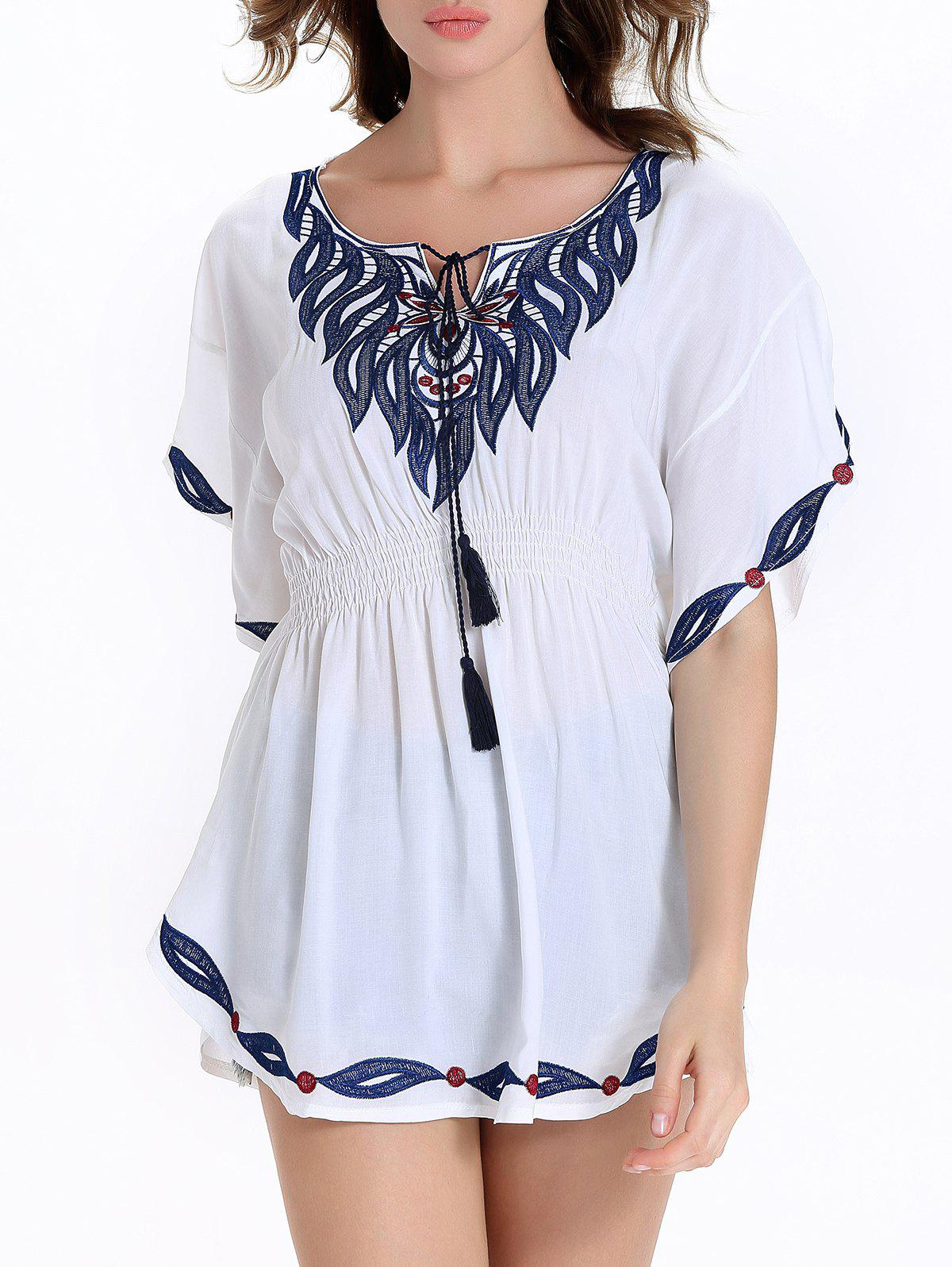 Stylish Bat Sleeve Ethnic Print Scoop Neck Blouse For Women - WHITE XL