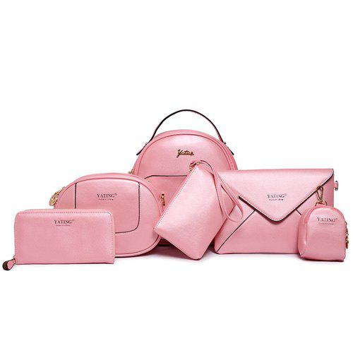 Sweet Letter and Solid Color Design Women's Satchel - PINK