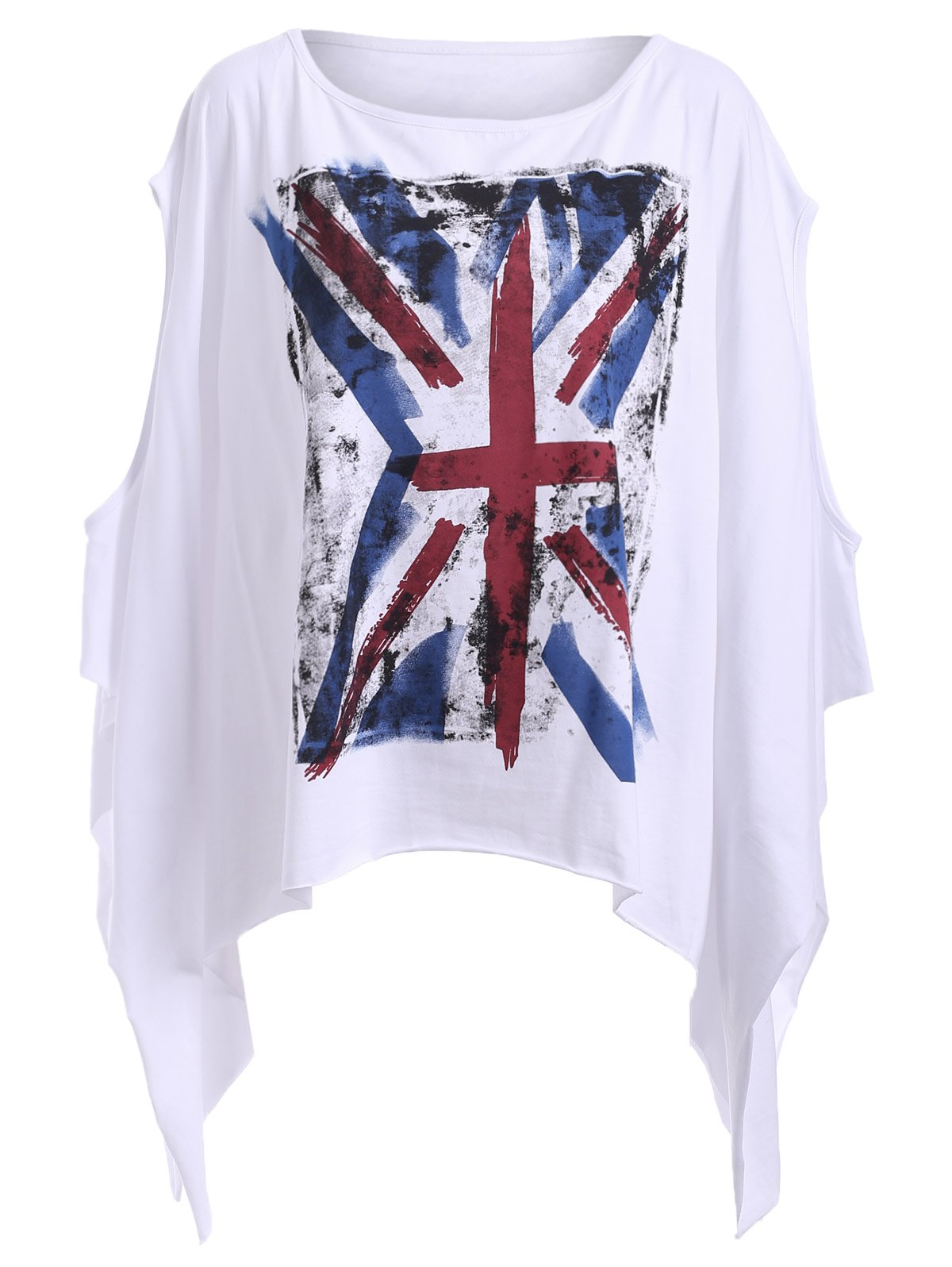 Chic Round Neck Flag Print Asymmetrical Cut Out Women's T-Shirt