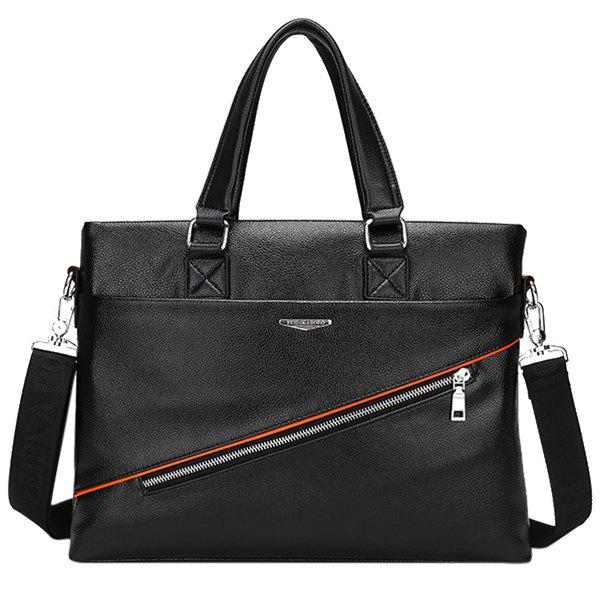 Trendy Zip and PU Leather Design Men's Briefcase - BLACK