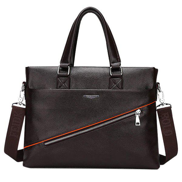 Trendy Zip and PU Leather Design Men's Briefcase - DEEP BROWN