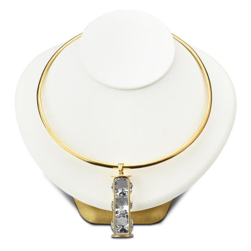 Stylish Cuboid Hollow Out Faux Crystal Pendant Torques For Women - GOLDEN
