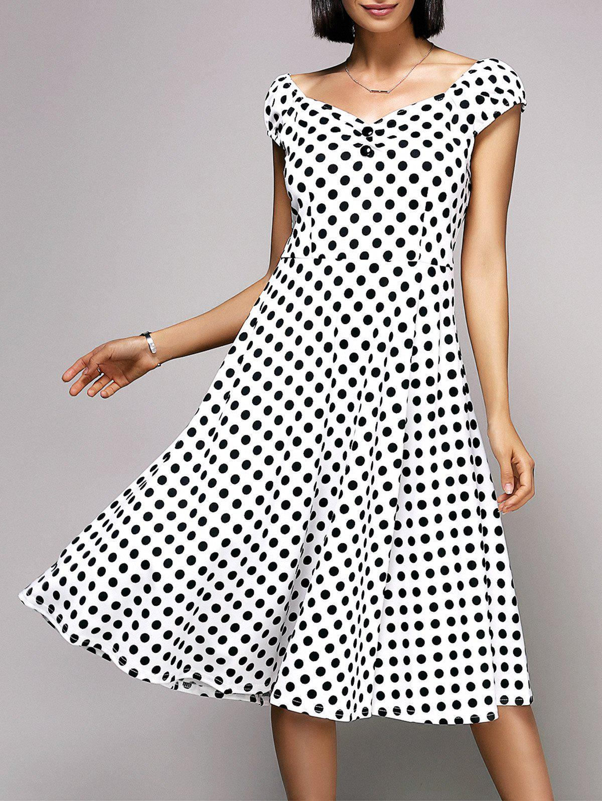 Stylish Women's V-Neck Cap Sleeve Polka Dot Midi Dress - WHITE 2XL