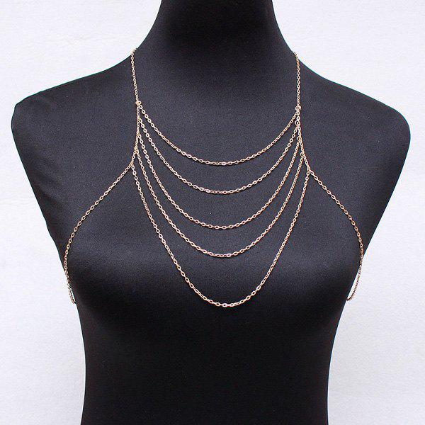 Elegant Golden Multilayer Body Chain For Women