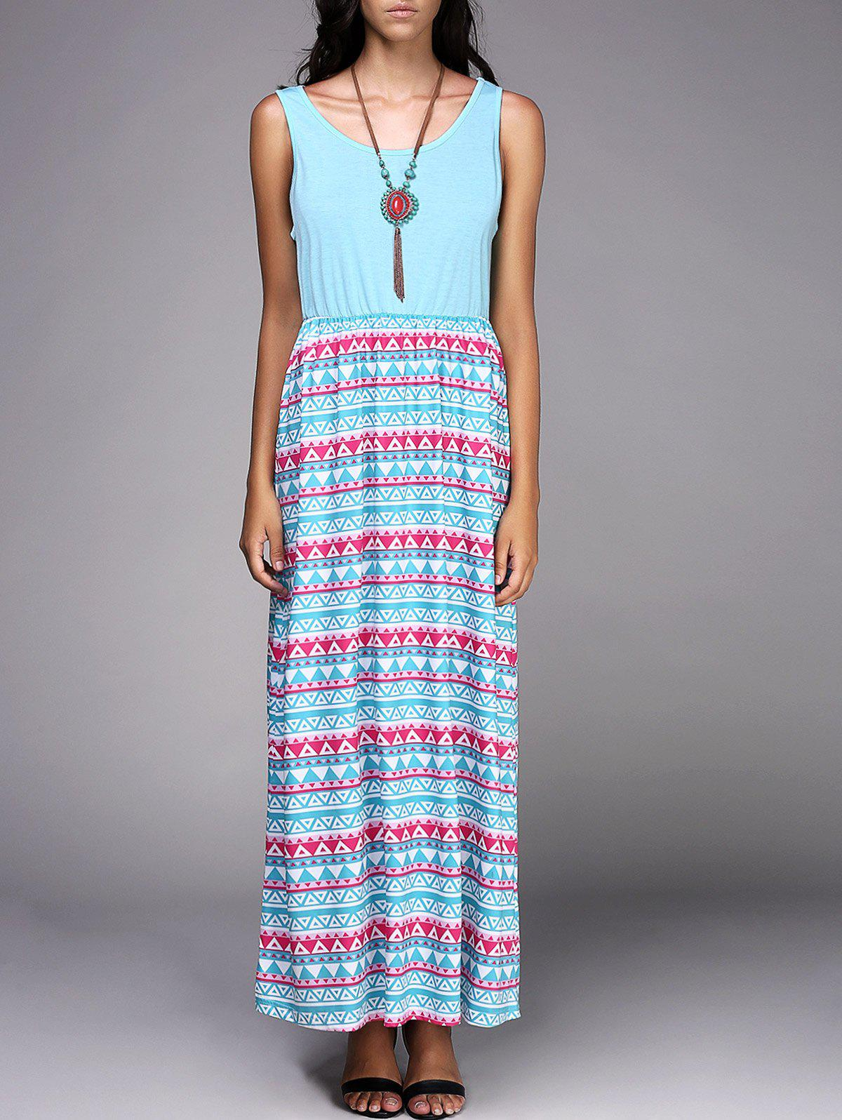 Scoop Neck Sleeveless Tribal Print Chic Spliced Women's Dress - AZURE XL