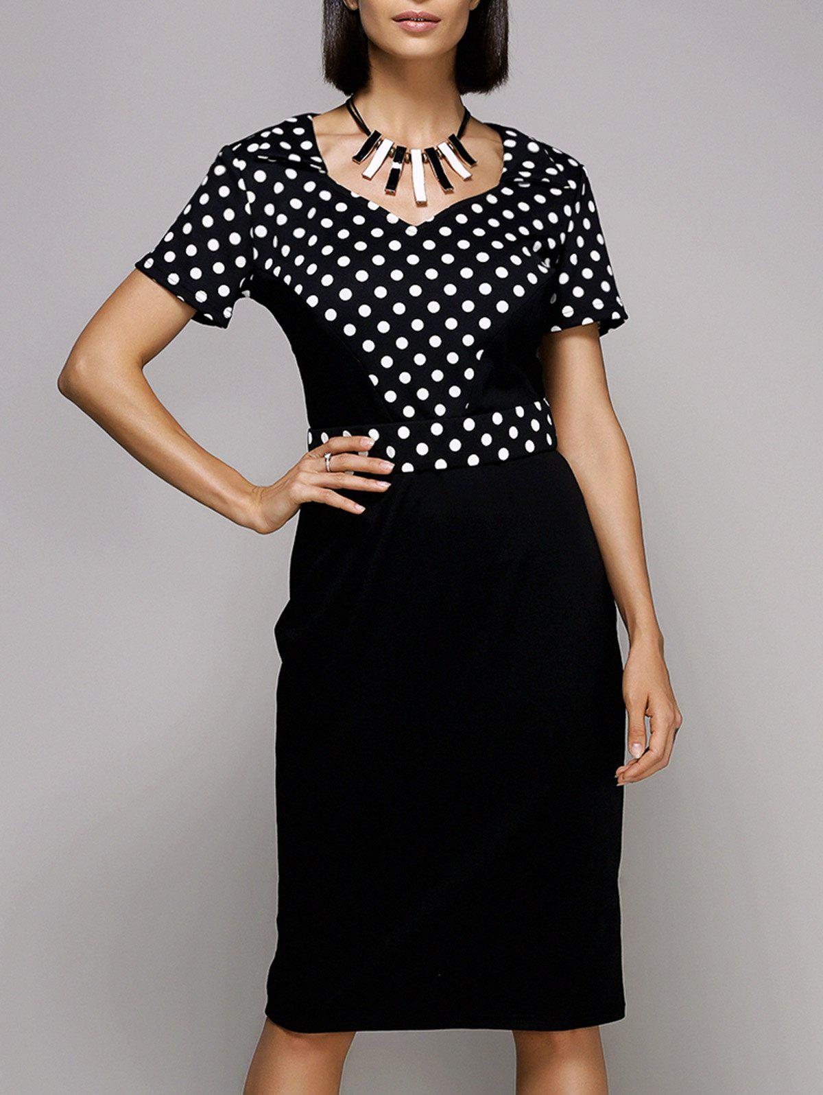Vintage Women's Sweetheat Neckline Polka Dot Midi Dress - BLACK 2XL