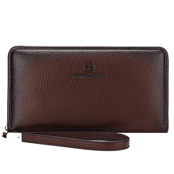 Fashionable Zip and PU Leather Design Men's Clutch Bag