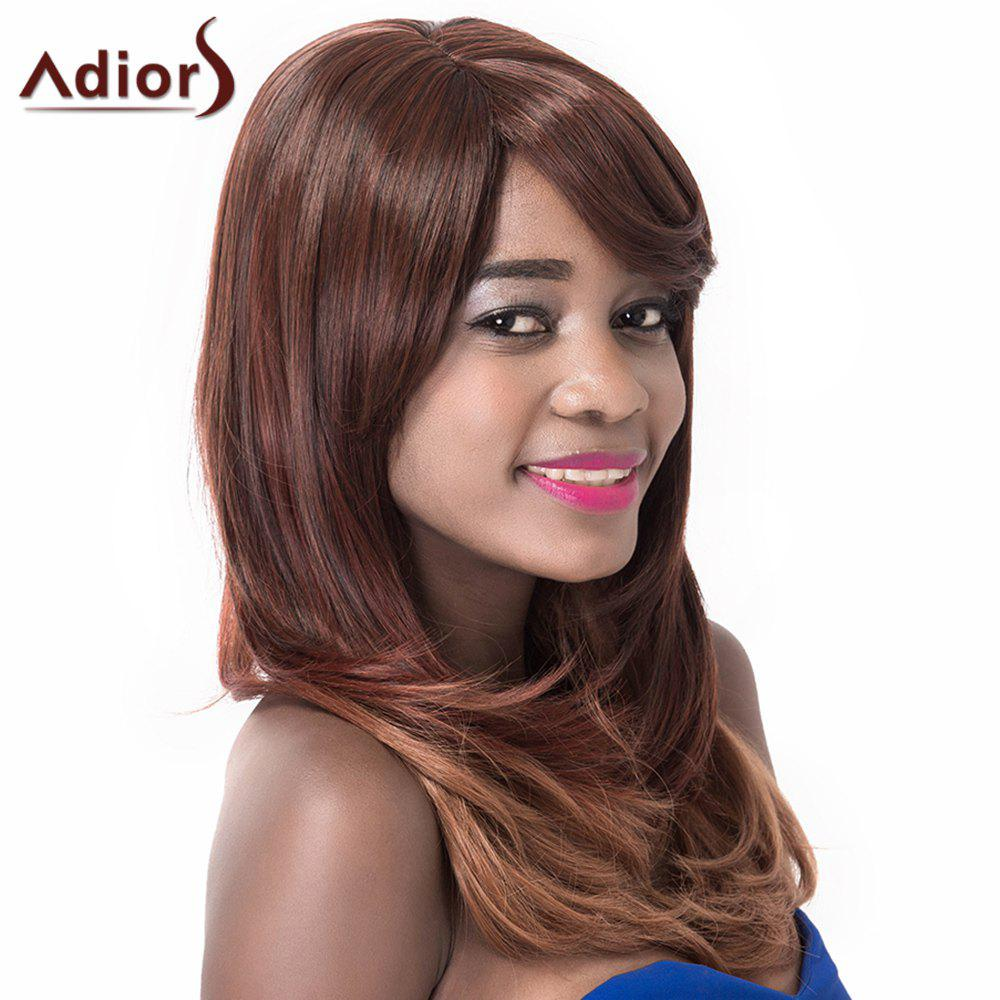 High Temperature Fiber Inclined Bang Adiors Curly Long Wig For Women - COLORMIX