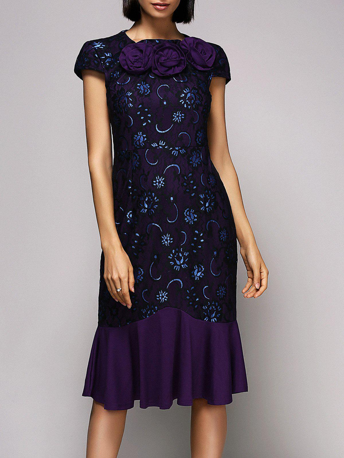 Vintage Women's Round Neck Cap Sleeve Floral Lace Midi Dress - PURPLE 2XL
