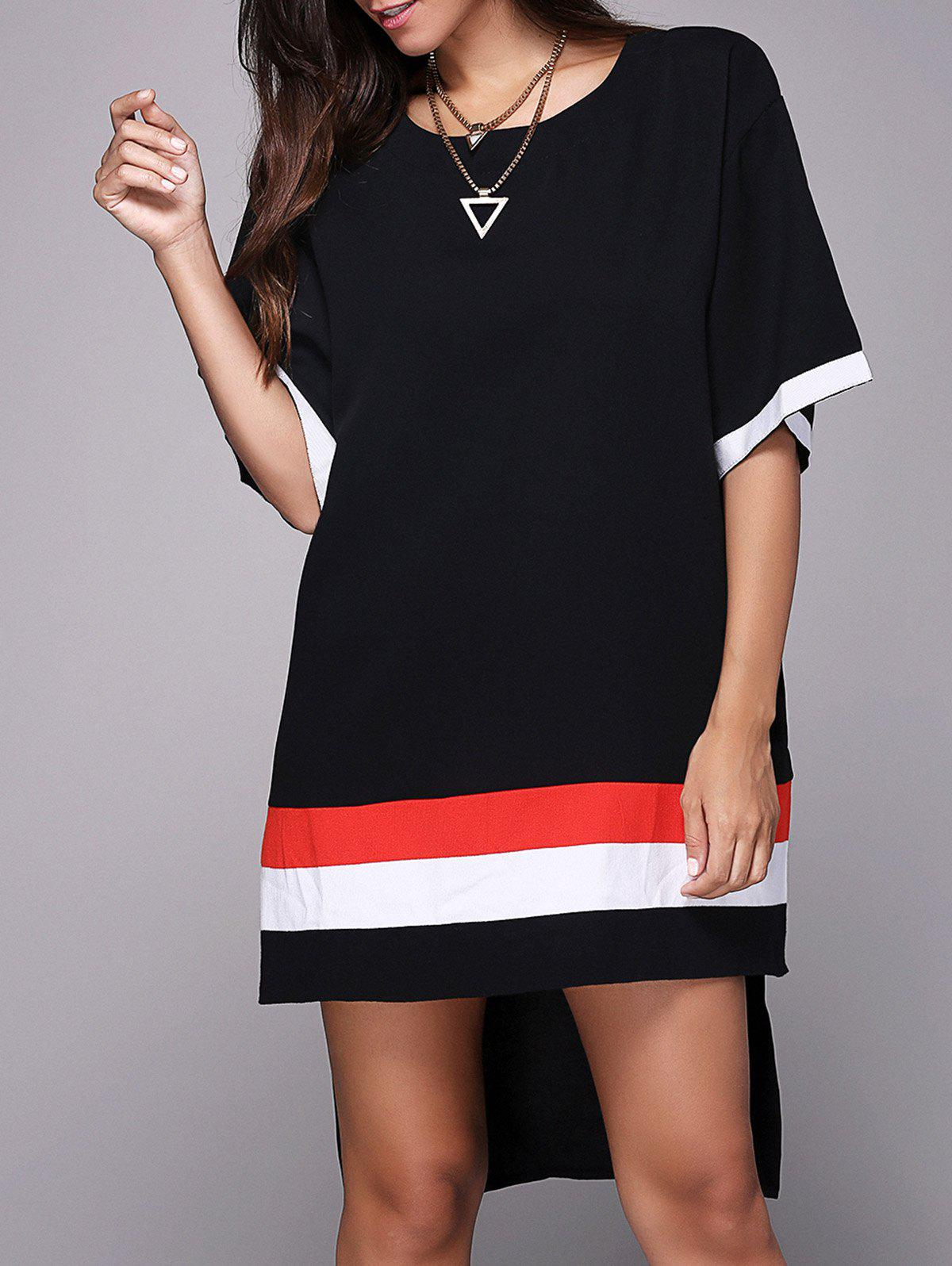 Casual Style Women's Jewel Neck Half Sleeve Loose-Fitting Side Slit T-Shirt - BLACK ONE SIZE(FIT SIZE XS TO M)
