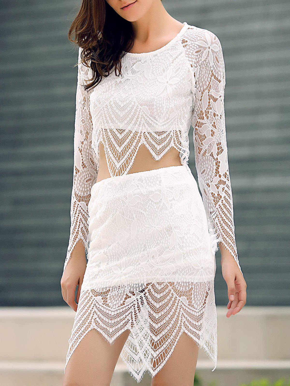 Lace Insert Crop Top and Lace Insert Skirt Twinset - WHITE S