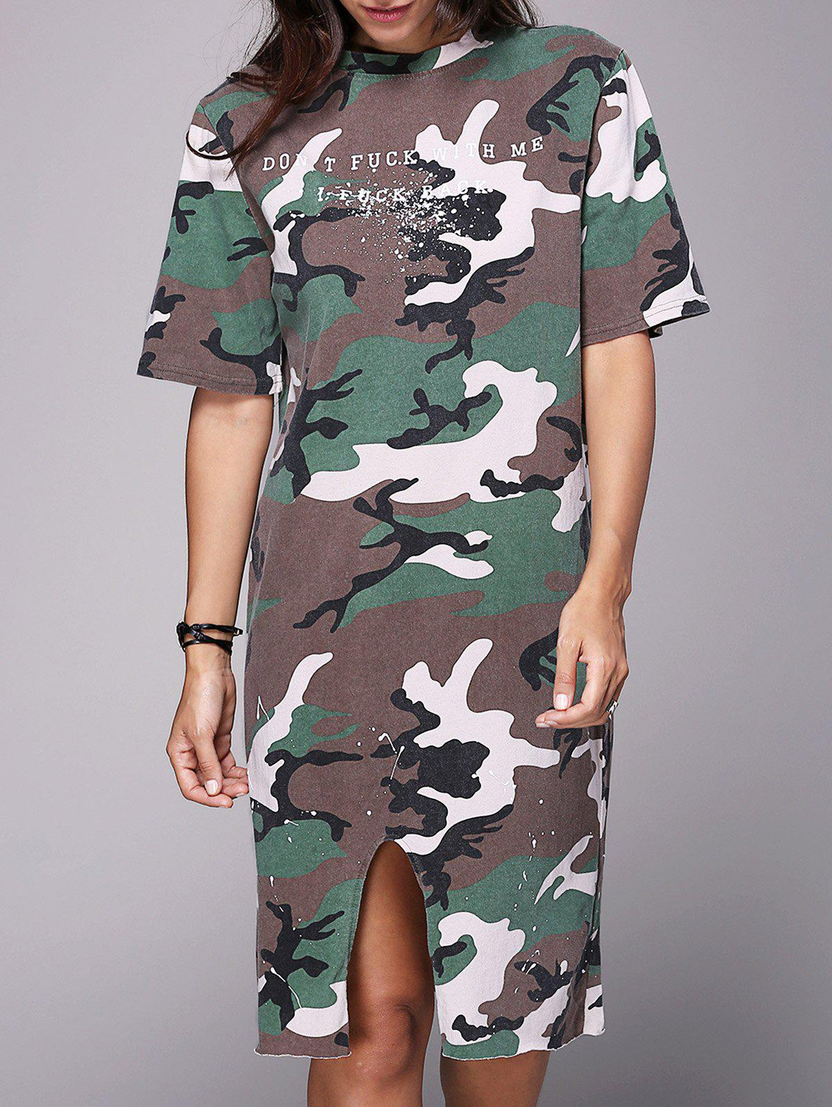 Fashionable Women's Round Neck Half Sleeve Camo T-Shirt Dress - CAMOUFLAGE ONE SIZE(FIT SIZE XS TO M)