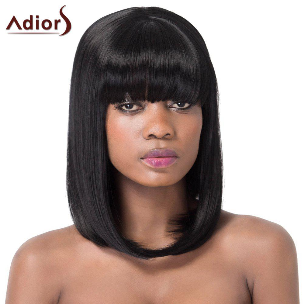 Charming Full Bang Medium Silky Straight Women's Synthetic Adiors Wig - BLACK