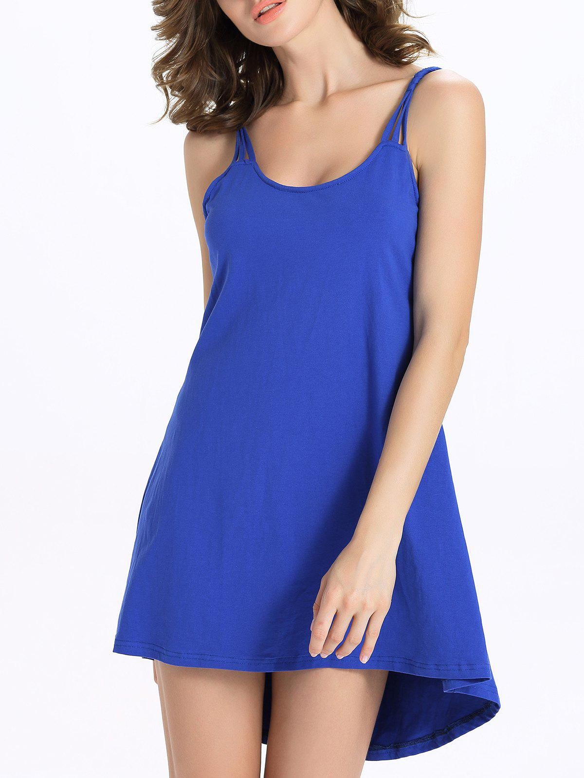 Stylish Candy Color Scoop Neck Tank Dress For Women - SAPPHIRE BLUE 2XL